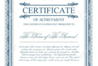 Certificate Template With Guilloche Elements. Blue Diploma Border.. Intended For Validation Certificate Template