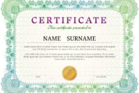 Certificate Template With Guilloche Elements. Green Diploma Border.. In Validation Certificate Template