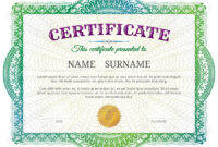 Certificate Template With Guilloche Elements. Green Diploma Border.. Within Validation Certificate Template