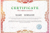Certificate Template With Guilloche Elements. Red Diploma Border.. For Validation Certificate Template