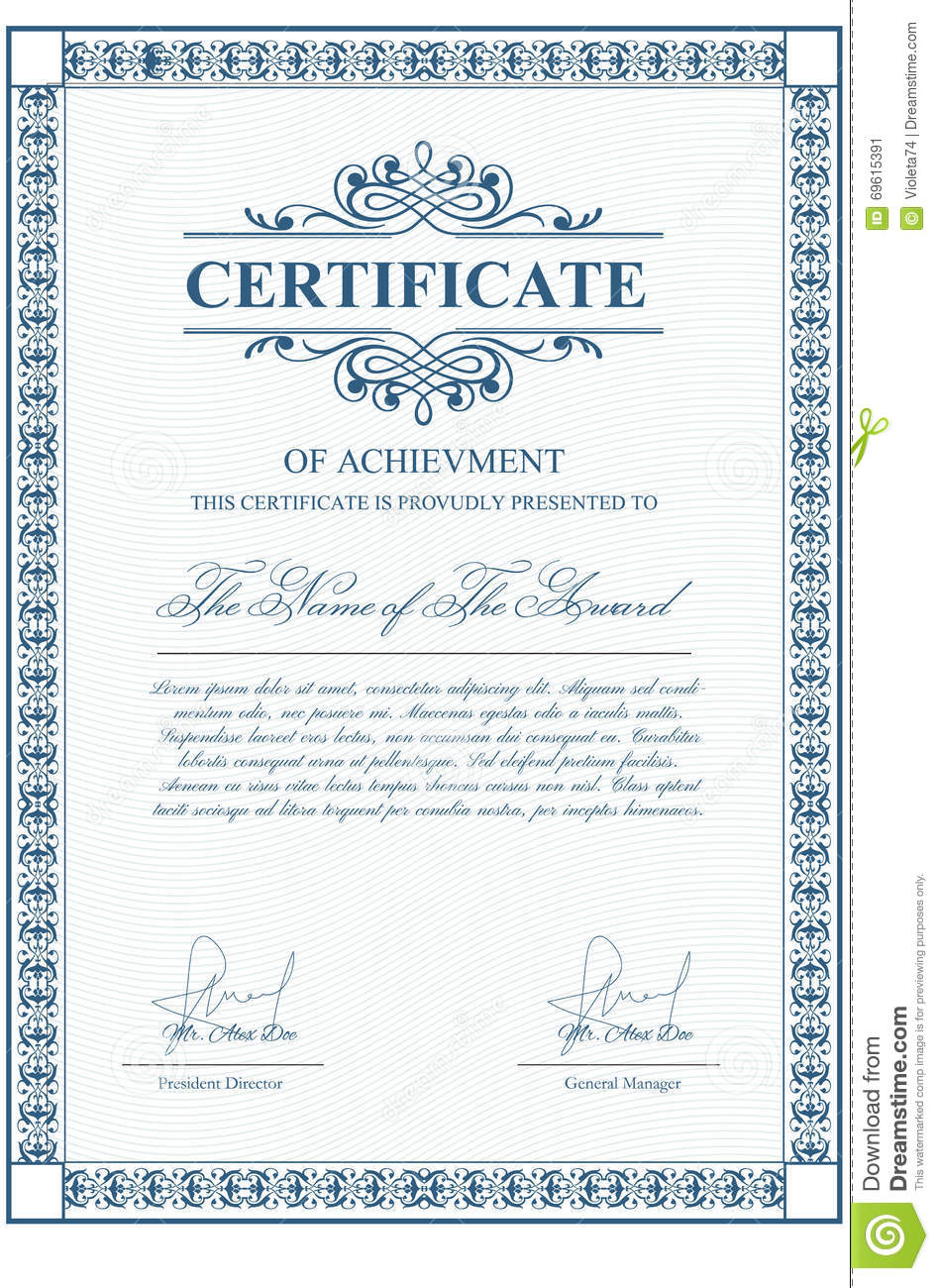 Certificate Template With Guilloche Elements. Stock Vector Throughout Validation Certificate Template