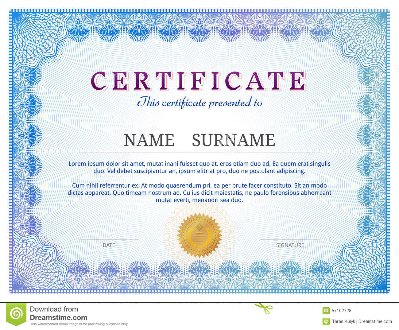 Certificate Template With Guilloche Elements Stock Vector Within Validation Certificate Template