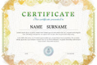Certificate Template With Guilloche Elements. Yellow Diploma.. In Validation Certificate Template