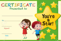 Certificate Template With Kids And Stars Illustration for Star Certificate Templates Free