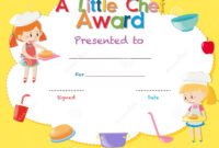 Certificate Template With Kids Cooking Stock Illustration within Free Kids Certificate Templates