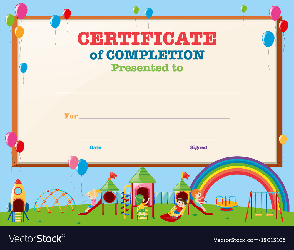 Certificate Template With Kids In Playground Throughout Free Kids Certificate Templates