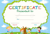 Certificate Template With Kids Planting Trees Illustration regarding Free Kids Certificate Templates