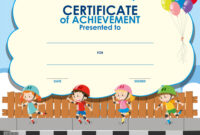 Certificate Template With Kids Skating for Free Kids Certificate Templates