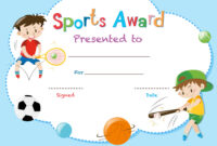 Certificate Template With Two Boys Playing Sports within Athletic Certificate Template