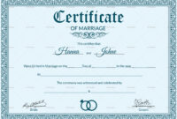 Certificate Templates: Free Editable Marriage Certificate within Blank Marriage Certificate Template