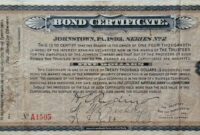Certificate Templates: Vintage Johnstown: 1893 Bond Certificate with Corporate Bond Certificate Template