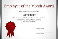 Certificates: Amusing Employee Of The Month Certificate pertaining to Employee Of The Month Certificate Templates