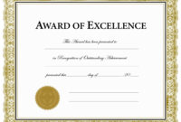 Certificates. Charming Award Of Excellence Certificate with regard to Award Of Excellence Certificate Template
