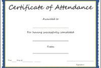 Certificates: Popular Attendance Certificate Template Word intended for Attendance Certificate Template Word