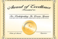 Certificates: Simple Award Certificate Templates Designs in Award Of Excellence Certificate Template