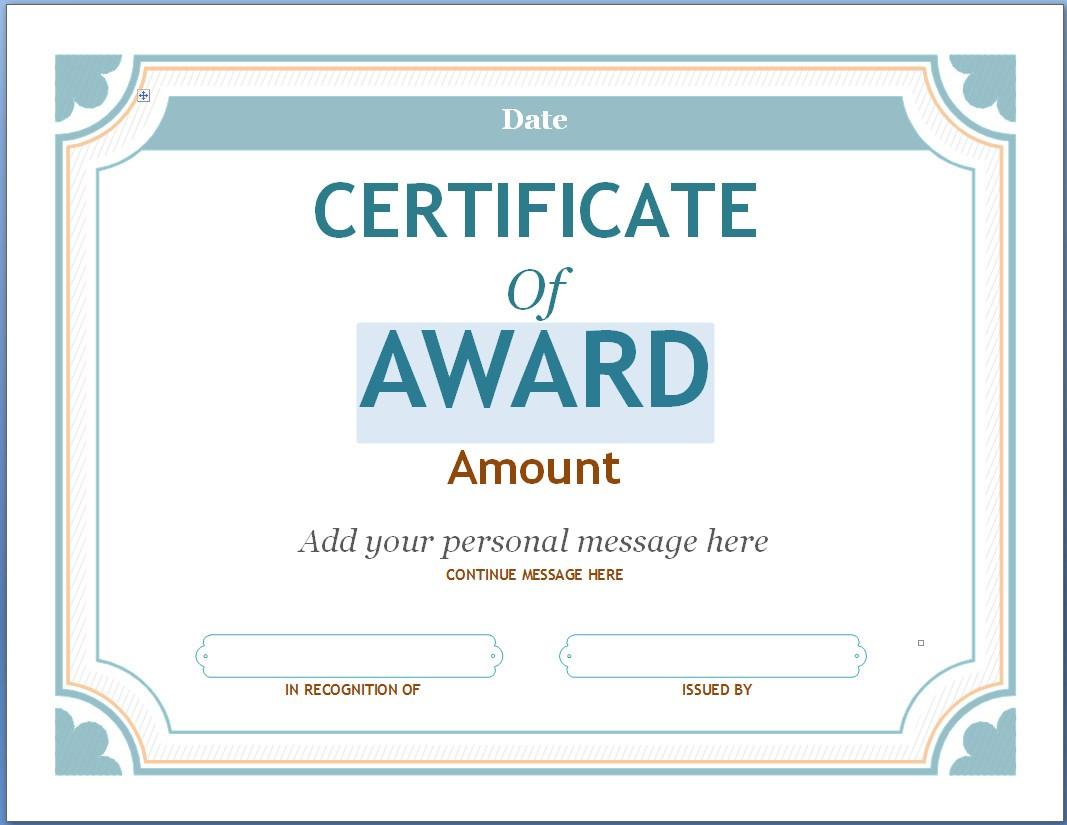Certificates: Stunning Certificate Template Powerpoint Ideas For Award Certificate Template Powerpoint