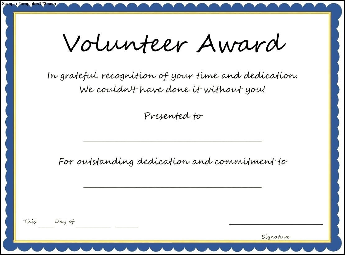 Certificates: Stylish Volunteer Certificate Template Sample For Volunteer Of The Year Certificate Template