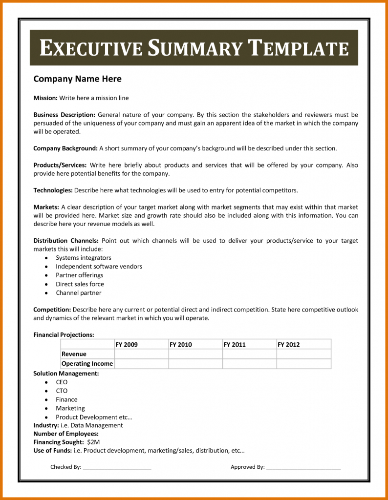 Certificates Templates , Financial Summary Report Template Within Executive Summary Report Template
