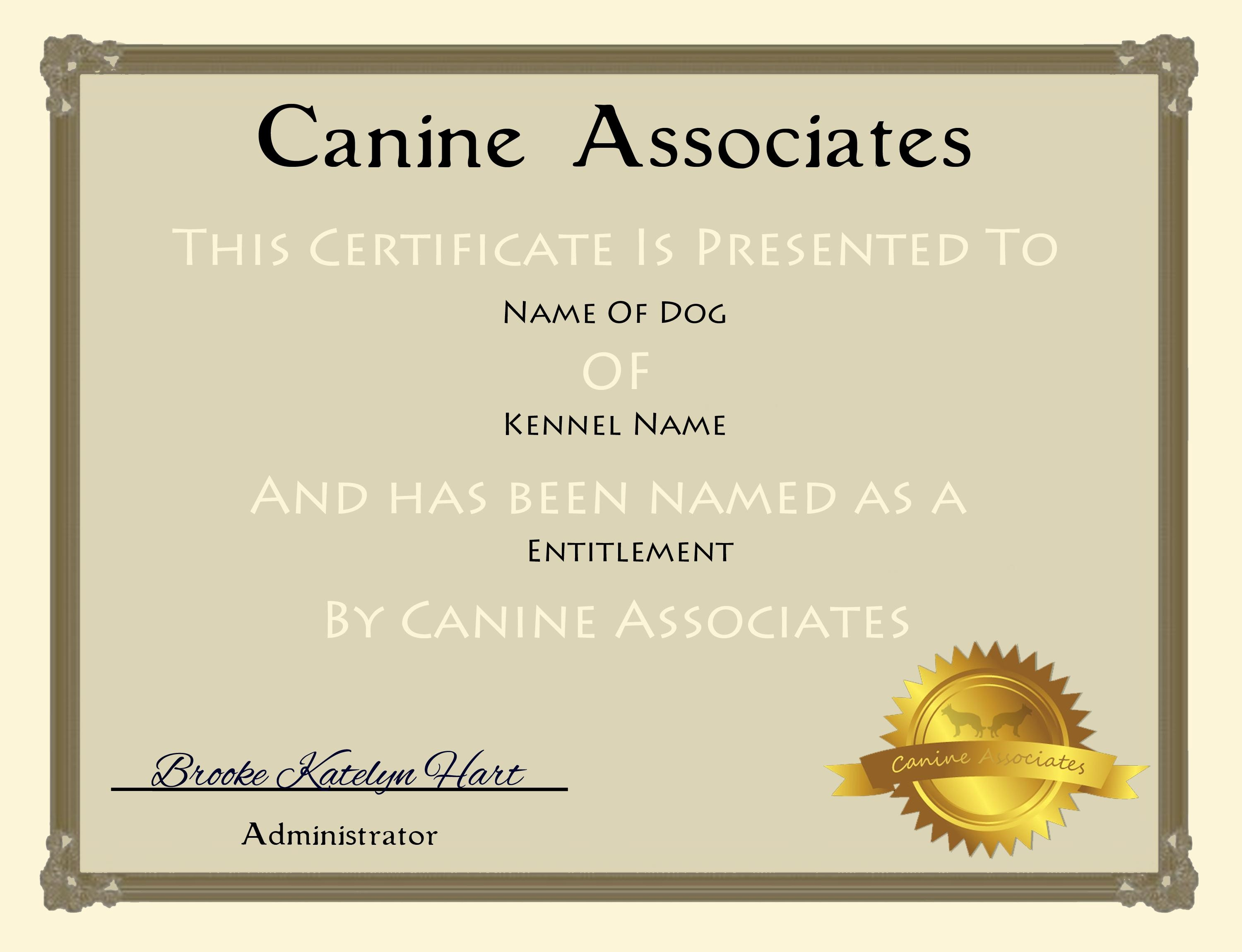 Certificates. Terrific Service Dog Certificate Template Intended For Service Dog Certificate Template