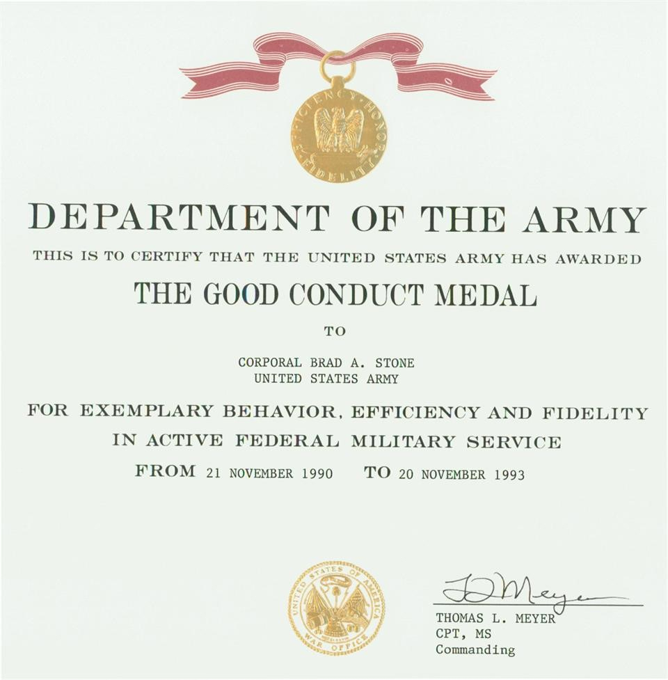 Certificates: Wonderful Good Conduct Certificate Template Pertaining To Army Good Conduct Medal Certificate Template