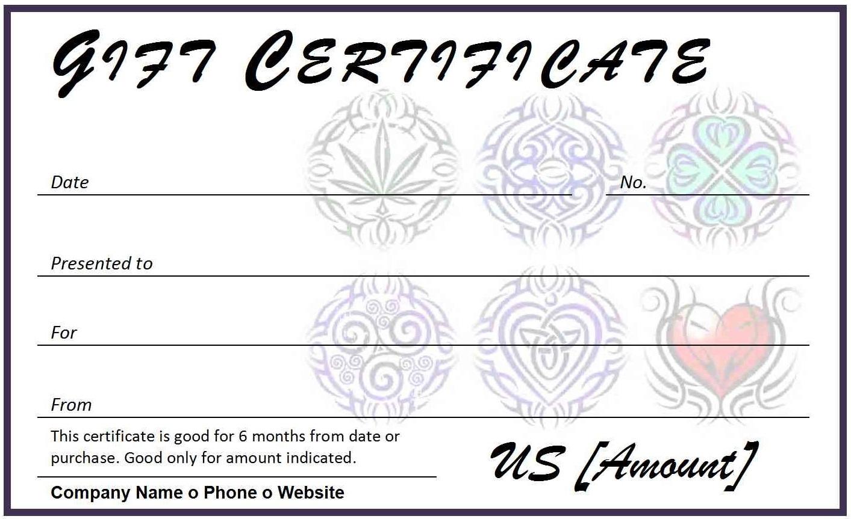 Certificates. Wonderful Tattoo Gift Certificate Template With Regard To Tattoo Gift Certificate Template
