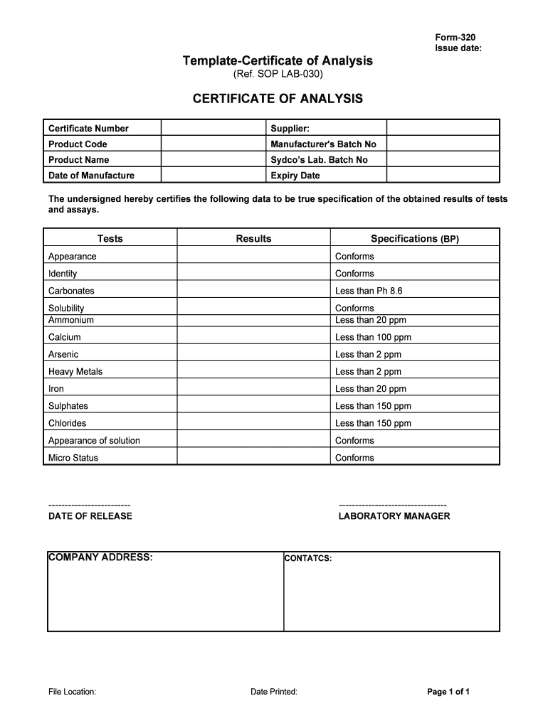 Certification Of Analysis Template - Fill Online, Printable Pertaining To Certificate Of Analysis Template