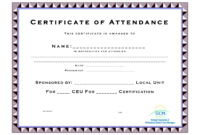 Ceu Certificate Of Completion Template Attendance Templates inside Ceu Certificate Template