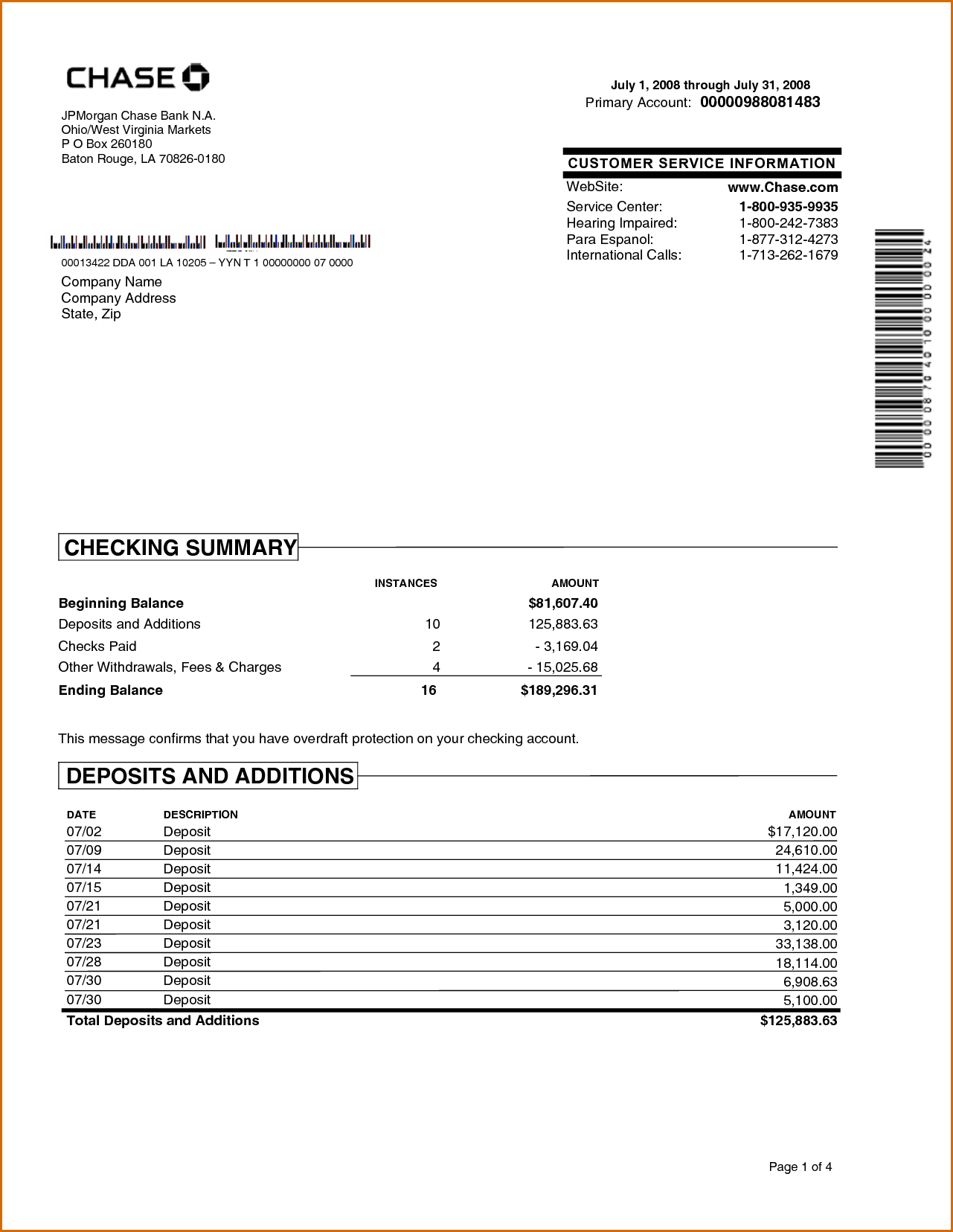 Chase Bank Statement Online Template | Best Template With Regard To Blank Bank Statement Template Download