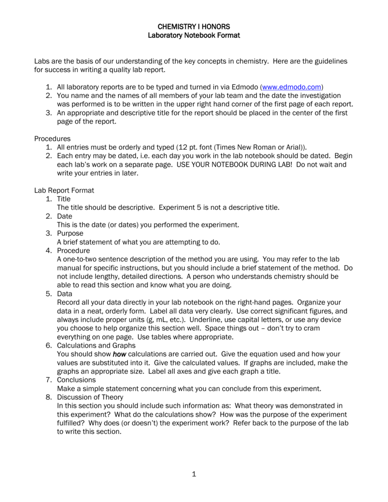 Chemistry I Honors Lab Report Format Inside Chemistry Lab Report Template