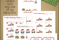 Christmas Cookie Exchange Printables Penguin Theme ~ Free pertaining to Cookie Exchange Recipe Card Template