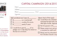 Church Capital Campaign Pledge Card Samples in Pledge Card Template For Church