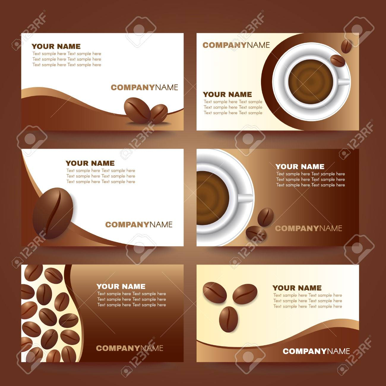 Coffee Business Card Template Vector Set Design Inside Coffee Business Card Template Free