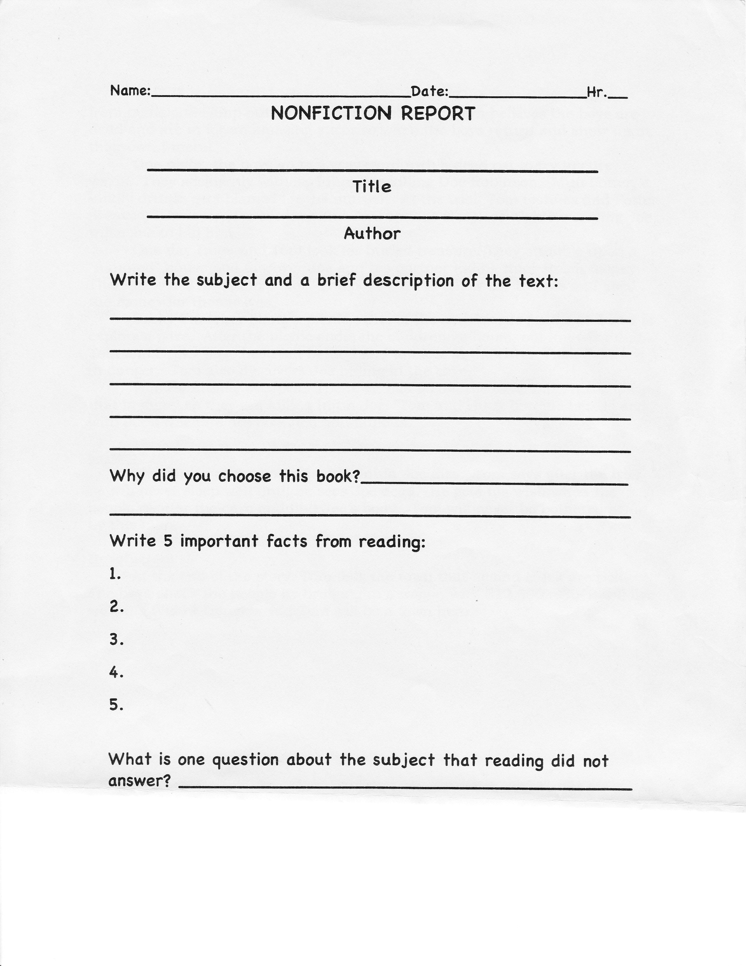 College Book Report Template Non Fiction The 15 Reasons Within College Book Report Template