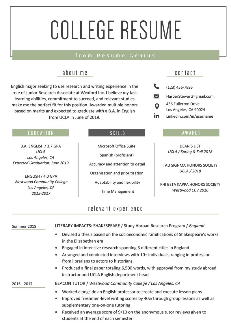 College Student Resume Sample & Writing Tips | Resume Genius Intended For College Student Resume Template Microsoft Word