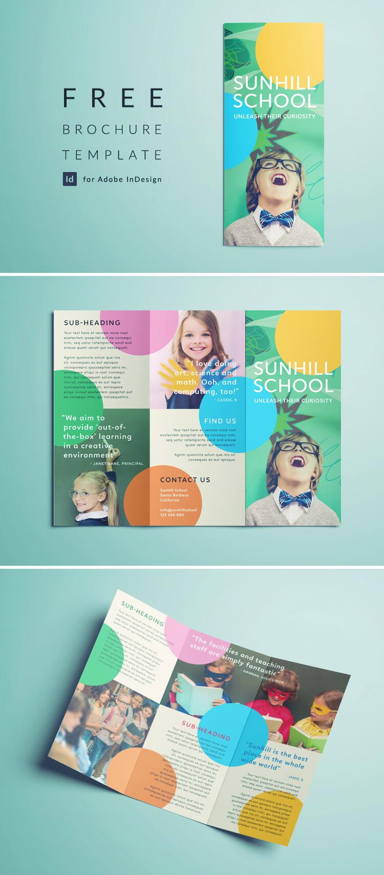 Colorful School Brochure - Tri Fold Template   Download Free Inside School Brochure Design Templates