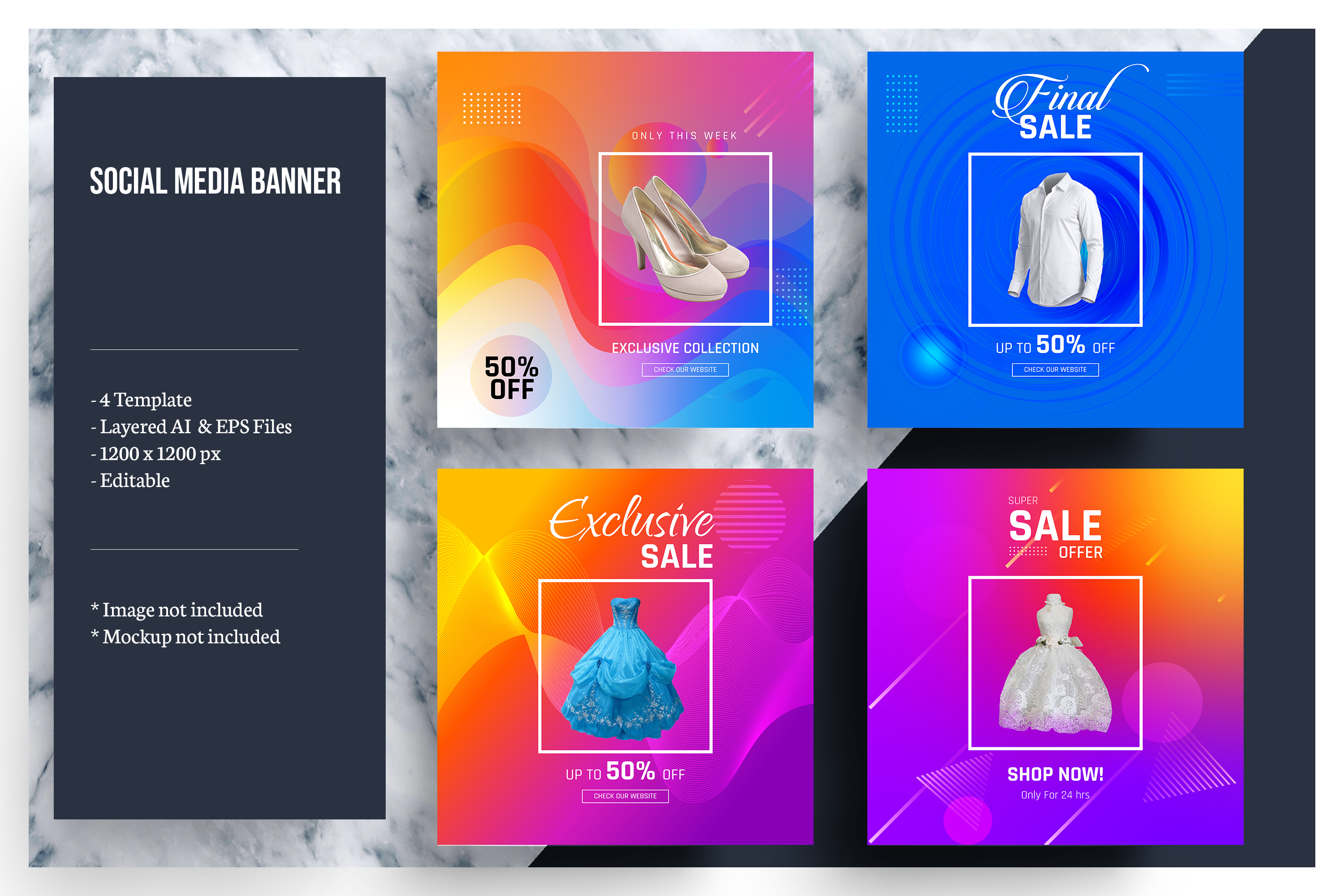 Colorful Social Media Banner Template Regarding Product Banner Template