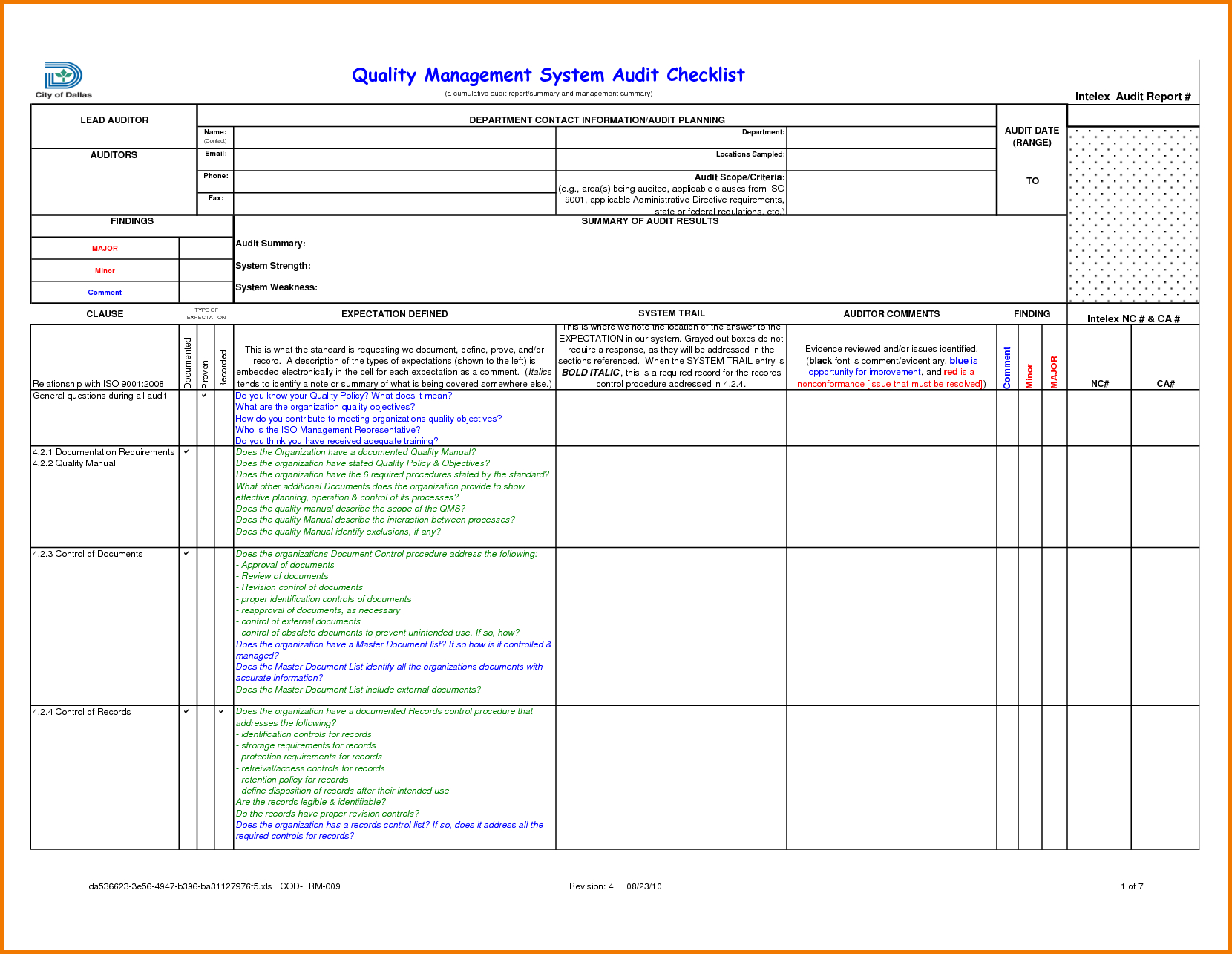 Compliance Audit Report Sample And Audit Findings Template Within Audit Findings Report Template