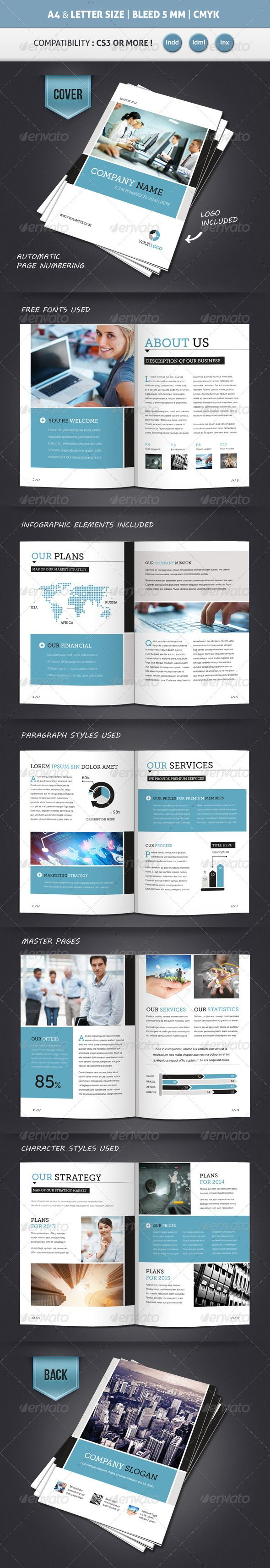 Corporate Brochure Template A4 & Letter 12 Pages Regarding 12 Page Brochure Template