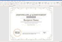 Create A Certificate Of Recognition In Microsoft Word regarding Certificate Of Attainment Template