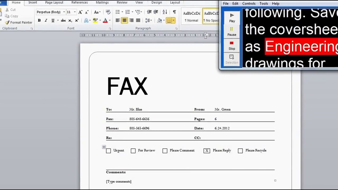 Create A Fax Cover Sheet (Microsoft Word Walk Through) With Fax Cover Sheet Template Word 2010