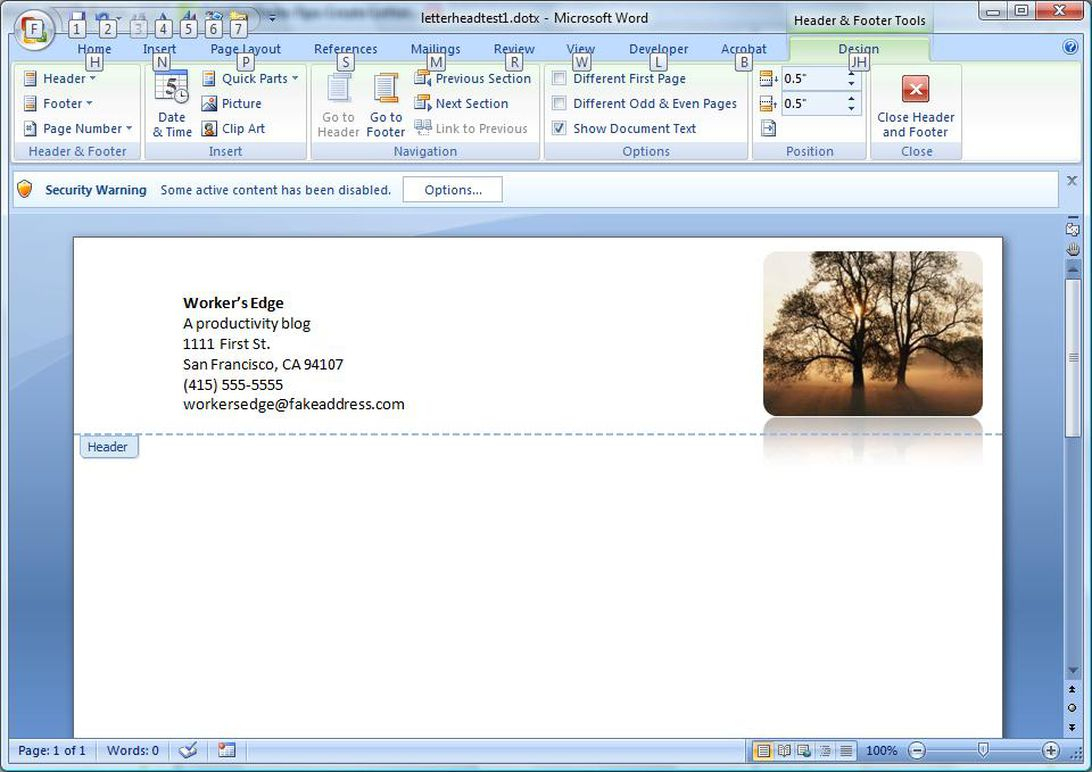 Create A Letterhead Template In Microsoft Word - Cnet Within How To Create A Letterhead Template In Word