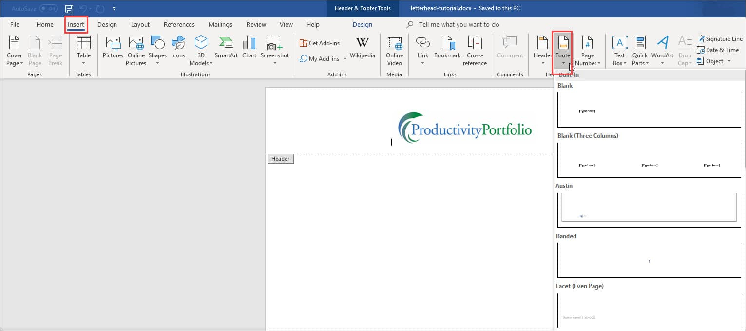 Create A Word Letterhead Template | Productivity Portfolio In Header Templates For Word