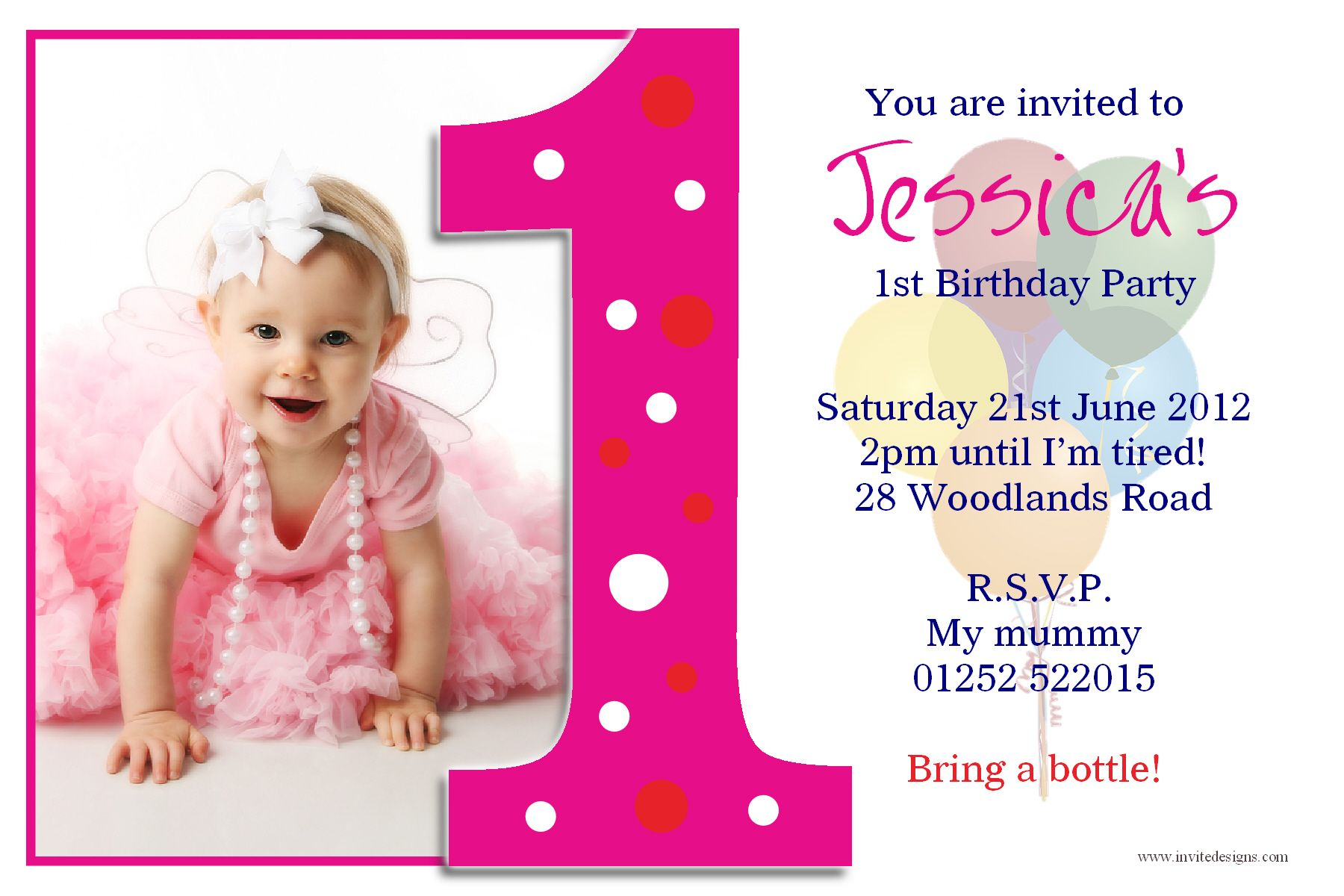 Create Easy First Birthday Invitations Free Templates Throughout First Birthday Invitation Card Template