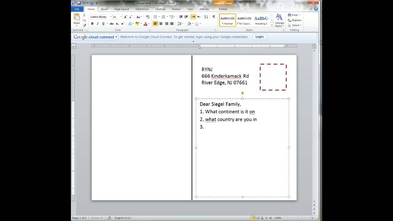 Creating A Postcard In Word With Microsoft Word 4X6 Postcard Template