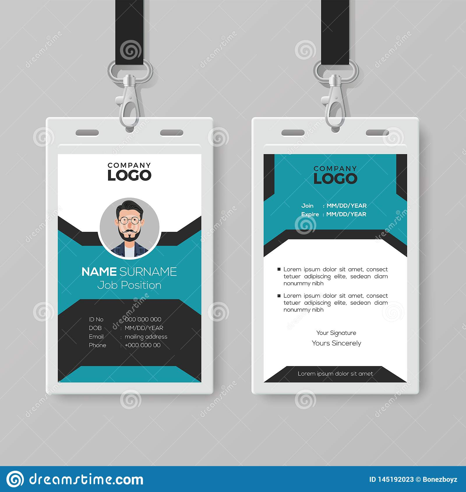 Creative Employee Id Card Template Stock Vector with ...