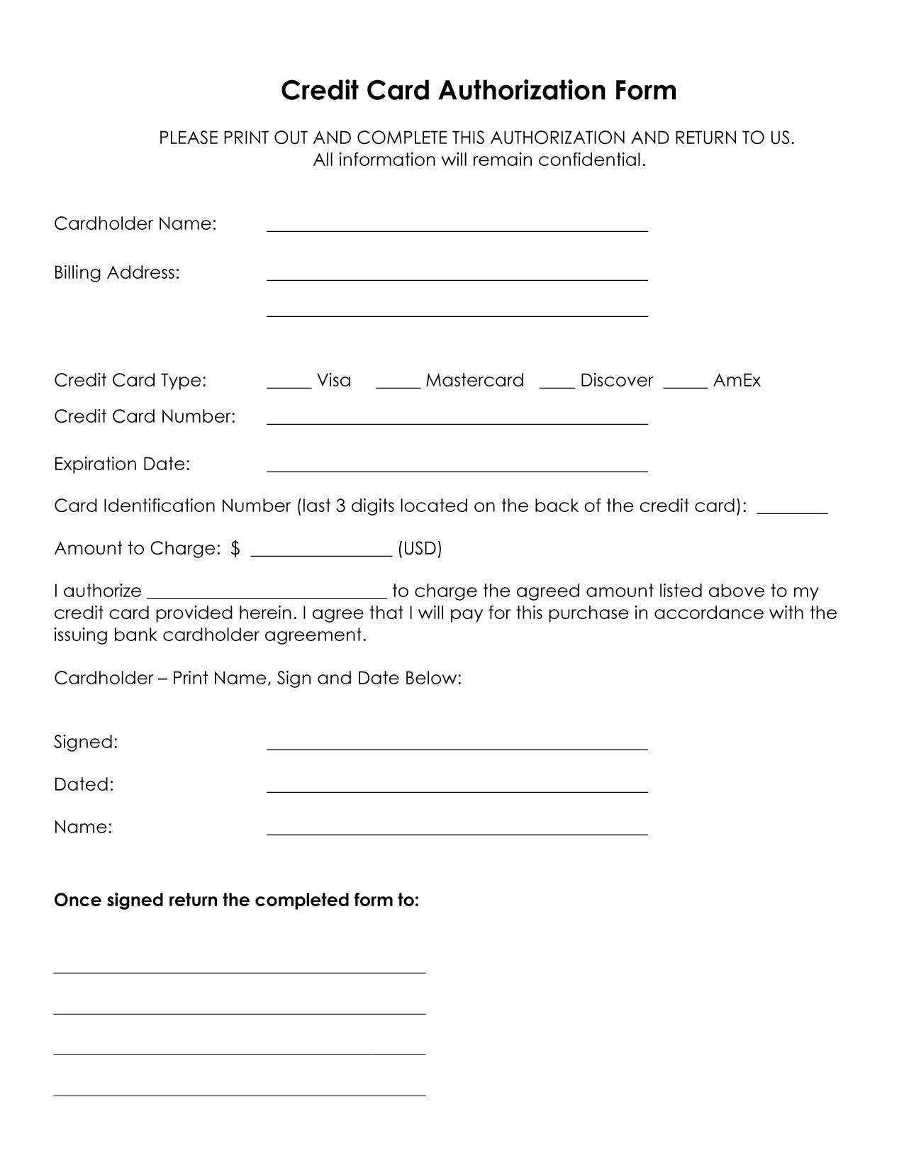 Credit Card Authorization Form Template | Credit Card With Regard To Hotel Credit Card Authorization Form Template