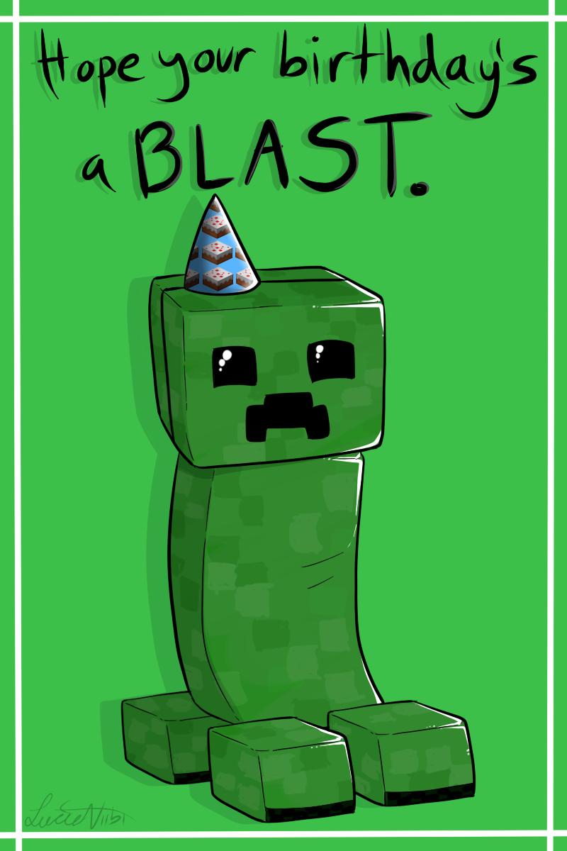 Creeper Birthday Cardlucieniibi.deviantart On Within Minecraft Birthday Card Template