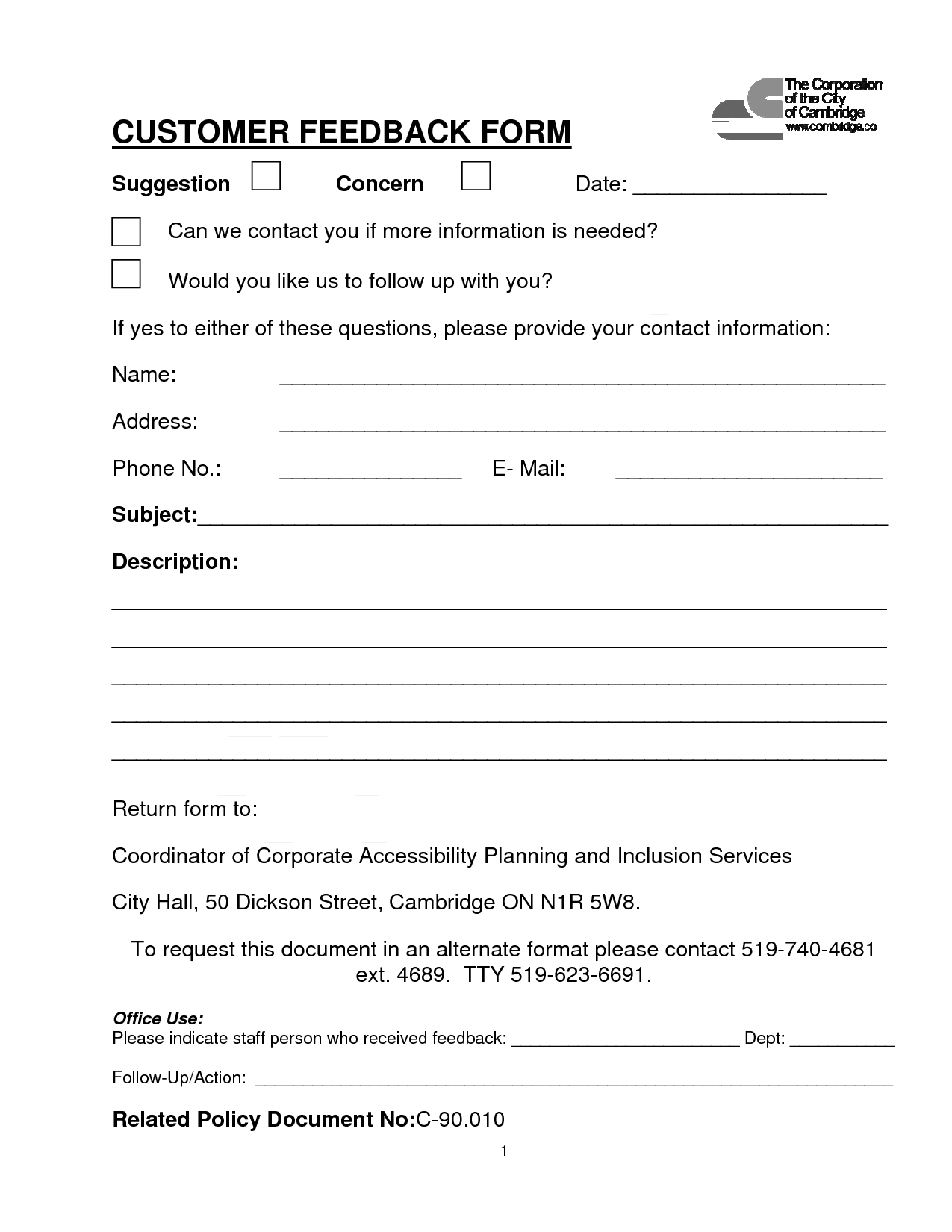 Customer Contact Form   Customer Feedback Form (Pdf Download With Employee Satisfaction Survey Template Word