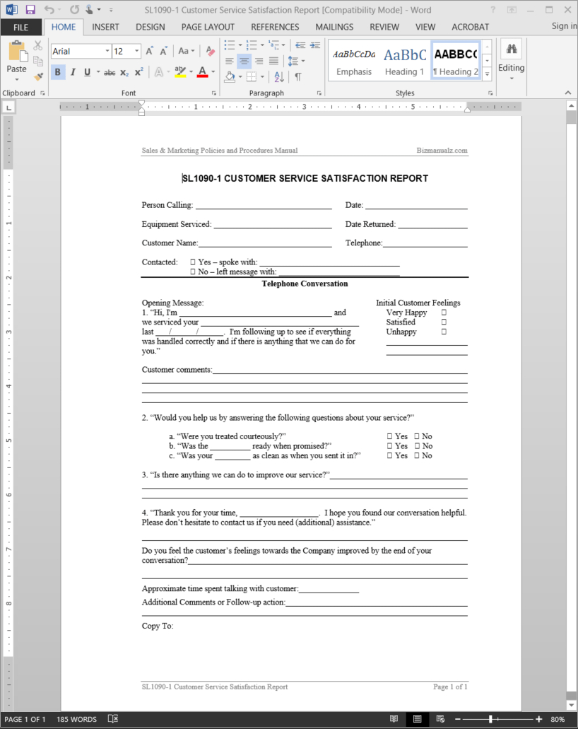 Customer Service Satisfaction Report Template | Sl1090 1 Throughout Report Template Word 2013