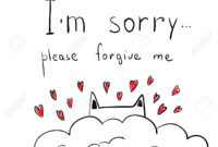 Cute Hand Drawn Cat With Hearts. Apologize Card. I' M Sorry,.. with Sorry Card Template